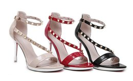 Wholesale Toe Europe Sandals - In the summer of 2017 the new Europe and the United States with joker sexy open-toed sandals fine with fashionable rivets sexy high-heeled s