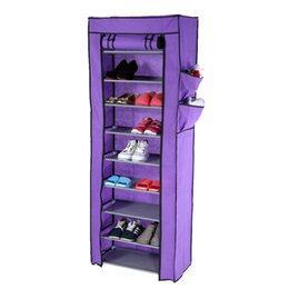 Wholesale Shelve Metal Storage Rack - Multi-function Compositional 10 Tier 27 Pair Tower Shoe Rack Nonwoven Dustproof Shoes Cabinet Storage Racks H16739