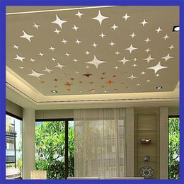 Wholesale 3d ceiling stickers - Wall Stickers Stars Sky Mirror Plane Sticker Made Of 3D Acrylic Walls Ceiling Room Decal Decor Art DIY Creative Hot Sales 11ld A
