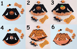 Wholesale Baby Dresses Shoes - 2017 New Baby Girl Long Sleeve Halloween Dress Pumpkin Dress +headband+socks+shoes Four Piece Sets Toddler Clothing 7673