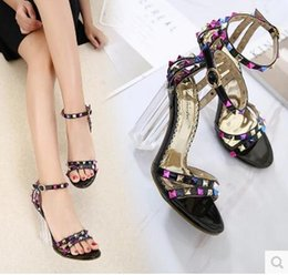 Wholesale Crystal Open Toe Dress Shoes - 2017 new Women's shoes Crystal heel open-toed color rivet Thick with High heels Women's sandals Free