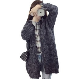 Wholesale Single Breast Long Sleeves Cardigan - Wholesale- Cardigan Women Fall Winter Retro Twist Jumper Loose Bomber Jacket Big Yards Long Knit Sweater Coat Female Vestidos LXJ190