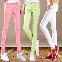 Wholesale Candy Colored Jeans - Wholesale- HEE GRAND New Autumn Fashion Pencil Jeans Woman Candy Colored Medium Waist Full Length Zipper Slim Fit Skinny Women Pants WKP004