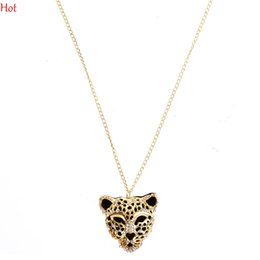 Wholesale Leopard Head Sweater - Hot Wholesale Crystal Leopard Head Pendant Necklace Woman Fashion Jewelry Hollow Leopard Long Statement Necklace For Sweater Dress SV001111