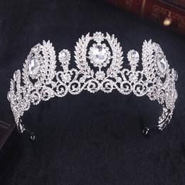 Wholesale Hoop Bride Hair Accessory - Hot Sell New Fashion White Crystal Crown Bride Tiara Wedding Hair Jewelry Pearl Big Hoop Hair Accessories Beauty Crown