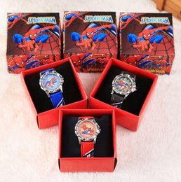 Wholesale Leather Gift Boxes Wholesale - Wholesale Cartoon Spider-Man kids boys girls children cartoon quartz Children Wristwatch Watches With Boxes Party Favors Gift W27