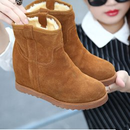 Wholesale Plain Red Fabric - Wholesale-2015 Winter Autumn Wedge Genuine Leather Boots Women Fashion Breathable Height Lace Platform Shoes Woman Snow Boots