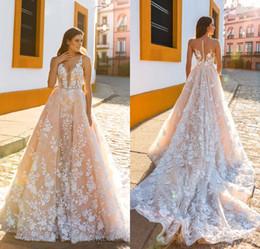 Wholesale Dress Embellishments - Crystal Design 2017 Bridal Sleeveless Straps Deep Plunging Full Embellishment Blush Color A Line Wedding Dresses Sheer Back Royal Train
