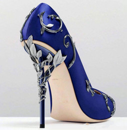 white ribbon charm Promo Codes - 2018 Ralph & Russo satin bridal wedding Bridal high heel shoes eden pumps high heels with leaves shoes for evening prom party