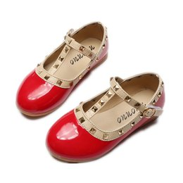 c8b86654acee6 2017 Spring New Girls Flats Children Shoes Patent Leather Princess Rivets  Buckle Dance Shoes For Kids sneaker Size 21-36 Baby Girls Peas