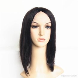 Wholesale U Part Wig Styles - Hair Products 16inch Short Style Human Hair Wigs Machine Made U-Part Front Lace Wig Womens Straight Hair Wig
