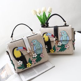 Wholesale Embroidered Leather Shoulders Bags - Brand Bag Women Embroidered bird Messenger Bags Handbags crossbody bags for Women Shoulder Bags Designer Handbags