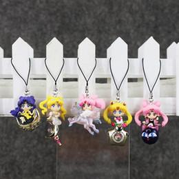 Cuerda de marinero online-Anime Sailor Moon Tsukino Usagi llavero colgante PVC figura de acción de juguete con cuerda envío gratis retail