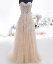 Wholesale Sexy Maxi Dress Night - Cheap woman party dress, sexy Strapless sequins, long, Maxi formal dress, party dresses gauze ladies champagne Vestidos free shipping