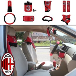 Wholesale Acura Blue - 10pcs unit Auto Accessories AC Milan Car Upholstery Steering wheel cover pillow blue football team car cover Universal Automotive interior