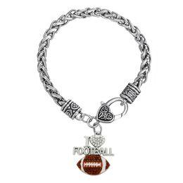 Wholesale I Love Football - Fashion I Love Football Crystal Heart Enamel Pendant Necklace Sports Fans Rhodium Plated Rhinestone Pendant Thick Chain Jewelry Bracelets