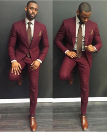 Wholesale Cheap Classy Wedding - Wholesale- Classy Burgundy Wedding Mens Suits Slim Fit Bridegroom Tuxedos For Men Two Pieces Groomsmen Suit Cheap Formal Business Jackets