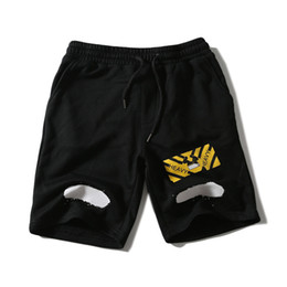 Wholesale Brushed Fleece - Off White Black Spray Brushed Diagonals Shorts Men's Mirror Sweatpants Relaxed-fit Cotton Fleece Shorts Sports Jogger Pants YBG0507