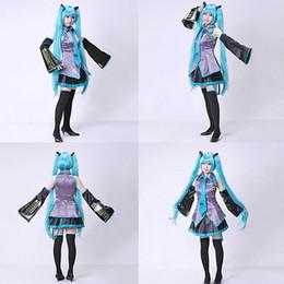 Wholesale Miku Dress - 2016 New Vocaloid Miku Hatsune Cosplay Costume kit Japanese Mid Dress 10 pcs Set hatsune Miku Cosplay Without Wig