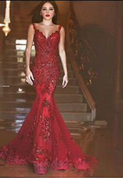 Wholesale trumpet charms - 2018 New Arabic Backless Mermaid Evening Dresses 2017 Charming Long Prom Gowns Sequins Sweetheart Lace Applique Formal Cheap Evening Gowns