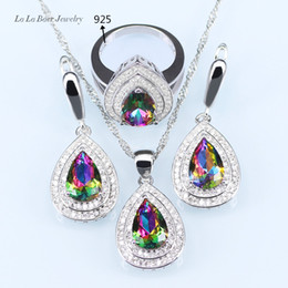 Wholesale Rainbow Silver Crystal Earrings - L&B Luxury Rainbow Crystal Jewelry Sets For Women silver Color 925 Logo Drop Earrings Wedding Pendant crystal Necklace Ring