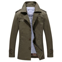 Wholesale Slim Large Lapel Coat - Large Size Jackets Mens Long Trench Coats Outwear Tops Male Spring Autumn Clothing 2017 New Fashion 4xl 5xl black blue
