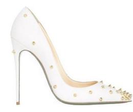 Новая мода заклепки насос женщины острым носом партия обувь Мода свадебные туфли неглубокие платье обувь скольжения на шпильке шпильки высокие каблуки белый цвет от
