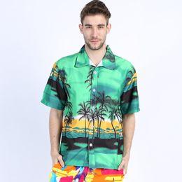 Wholesale Hawaii Clothes - Wholesale- Hawaiian 2017 Summer Brand New Men Short Sleeve Casual Shirt Men's Beach Hawaii Shirts Men Floral Clothes Asia Size 4XL ST30