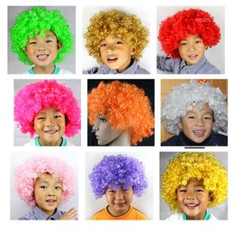 Wholesale Cosplay Multicolour Wigs - Christmas Party Curly Hair Wig Disco Rainbow Afro Clown wig Football Fan Adult Child Costume Party Costume Accessories