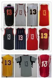 Wholesale Mcgrady S - Men Basketball Retro Rocketz #1 McGRADY #3 PAUL #13 HARDEN #34 OLAJUWON White Red Blue Yellow Jerseys Short