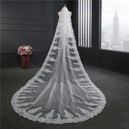Wholesale Cheap Mantilla Bridal Veils - Cheap Voile Mariage 3 Meter White Ivory Cathedral Wedding Veils Long Lace Edge Sparkle Bridal Veil Comb Bride Mantilla Wedding Veil