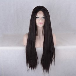 Wholesale Yaki Synthetic Lace Wig - light yaki Middle Part Glueless lace front wig synthetic hair for black women wavy style heat resistant front lace wig synthetic hair
