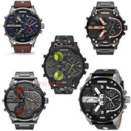 Wholesale Dz Watches - DZ Big dial luxury watches men's brand quartz watch man Multi-time zone leather watch casual fashion dress watches male military wristwatch
