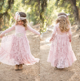 Wholesale Beach Girl T Shirt - 2018 Dusty Rose Flower Girls Dresses Boho Bohemian Country Beach Weddings with Long Sleeves Ankle Length First Communion Dress Little Girls
