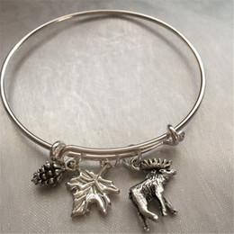 Wholesale Pine Silver - 12pcs Moose-bracelet with moose pine cone and leaf charm bracelets silver bangles