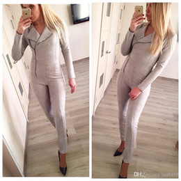 Wholesale Army Jumpsuit - Bodycon Jumpsuit Enteritos Mujer 2017 Spring New Women's Underwear Imitation Deerskin Solid Color Tight Body Piece Pants