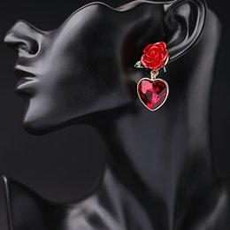 Wholesale Luxury Earings - Red Heart Rose Flower Drop Earrings Fashion Women Jewelry Accessories Sweet Simple Crystal Dangle Chandelier Earings Luxury Pendientes