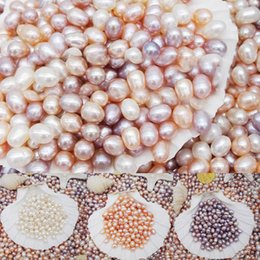 Wholesale Oval Freshwater Pearl Beads - New Fashion Beautiful Natural Freshwater Colorful Non-Hole Love Pearl Beads Jewelry Lovely Gift Decoration Free Shipping