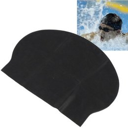 Wholesale Silicone Swim Caps Wholesale - Wholesale- SZ-LGFM-New Black Stylish Flexible Light Durable Sporty Swim Swimming Thin Hat Caps
