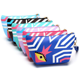 Wholesale Colorful Handmade Bag - Wholesale- 2017 Printing Cosmetic Bag Handmade Large Vintage Stripe Colorful Travel Kit Beautician Jewelry Organizer Free Shipping P455