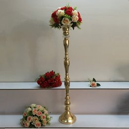 "Wholesale Led Candlesticks Wholesale - 100 CM 40"" Height Metal Gold Candle Holder Candlestick Wedding Table Centerpiece Event Flower Road Lead Rack 1 Lot =10 PCS"