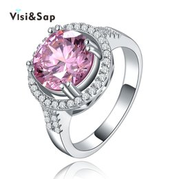 Wholesale Pink Stones Jewelry - Visisap Pink stone Rings 3ct AAA cubic zirconia White gold color Vintage Wedding rings For Women fashion jewelry VSR115