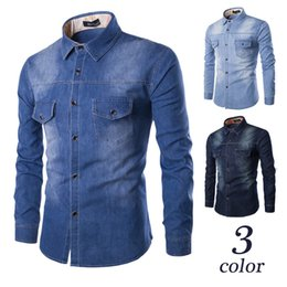Wholesale washing collared shirts - Autumn Solid Color Fashion Denim Shirt Men Cotton Brand Clothing Washed Pocket Design Casual Slim Fit Jeans Shirt M-3XL