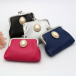 Wholesale cheap vintage clutches - Fashion candy color pearl coin purse pu key holder wallet hasp small gifts bag Fashion clutch bags cheap coin wallet