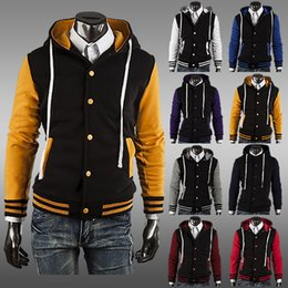 Wholesale Men Classic Hooded Jacket Hoodie - Wholesale- 2014 NEW Classic Hoodie Baseball Jacket man coat, eight color AC cardigan foreign trade
