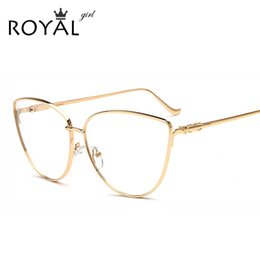 wholesale royal girl women cat eye eyewear frames clear lens women optical eyeglasses gold glasses frames ss756