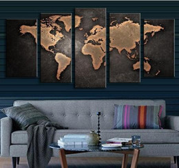 Wholesale World Oil Canvas Panel - Fine Art Old World Map 1set of 5pcs Canvas Painting Modern Abstract Wall Art Decor Oil Picture on Canvas for Home Living Room Stickers