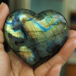 Wholesale Labradorite Heart - About 200g Natural Heart-shaped Labradorite Crystal Rough Polished healing
