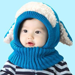 Wholesale Crochet Hat Dogs - Baby Winter Hat and Scarf Hat Cute Winter Warmer With Ear Crochet Costume Baby Enfant Joint With Dog Style Crochet Knitted Caps