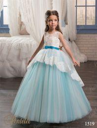 Wholesale Girl Dress Lace Overlay - vestidos primera comunion para ninas 2017 with Ivory Peplum Overlay & Sash Ball Gown Flower Girl Dress Lace Up Back & Sleeveless Custom Made